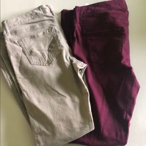 Super skinny jeans bundle ( tan and maroon color)